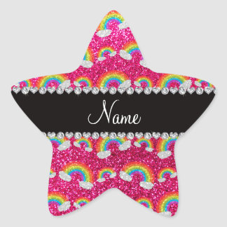 Personalized name neon hot pink glitter rainbows star sticker