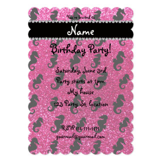 Personalized name neon hot pink glitter seahorses 5x7 paper invitation card