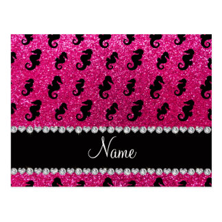 Personalized name neon hot pink glitter seahorses postcard