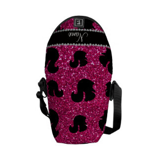 Personalized name neon hot pink glitter squirrel courier bags