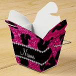 Personalized name neon hot pink glitter squirrel party favor boxes