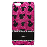 Personalized name neon hot pink glitter squirrel iPhone 5C cover