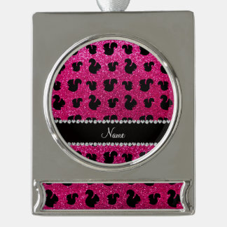 Personalized name neon hot pink glitter squirrel silver plated banner ornament