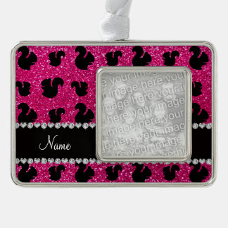 Personalized name neon hot pink glitter squirrel silver plated framed ornament