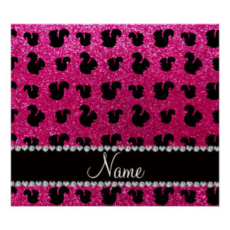 Personalized name neon hot pink glitter squirrel poster