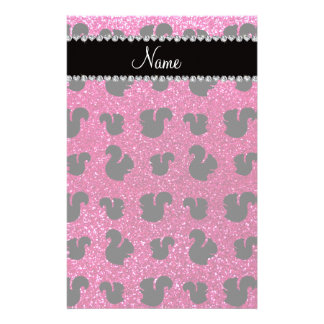 Personalized name neon hot pink glitter squirrel stationery