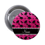 Personalized name neon hot pink graduation hearts 2 inch round button