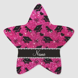 Personalized name neon hot pink graduation hearts star sticker