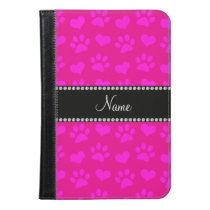 Personalized name neon hot pink hearts and paws iPad mini case