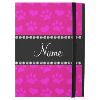 Personalized name neon hot pink hearts and paws iPad pro case