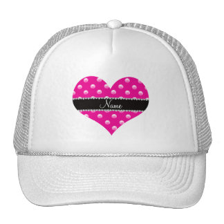 Personalized name neon hot pink pearls trucker hat