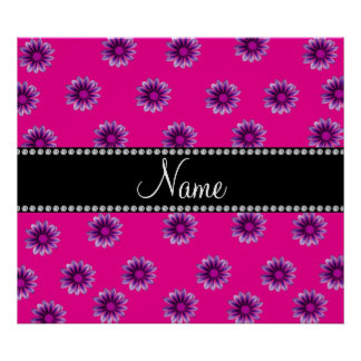 Personalized name neon hot pink purple pink flower print