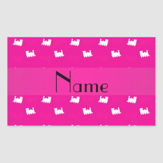 Personalized name neon hot pink train pattern rectangular sticker