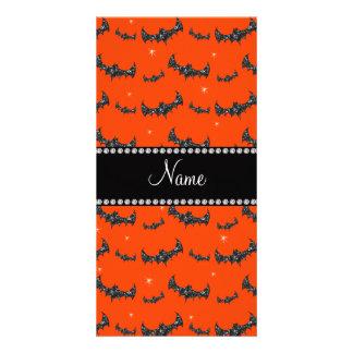 Personalized name neon orange glitter bats photo card