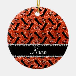 Personalized name neon orange glitter boots bows ceramic ornament