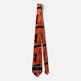 Personalized name neon orange glitter boots bows neck tie
