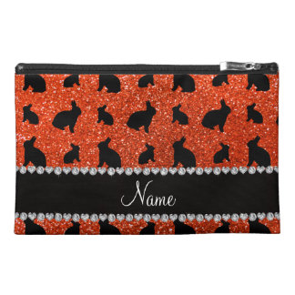 Personalized name neon orange glitter bunny travel accessories bags