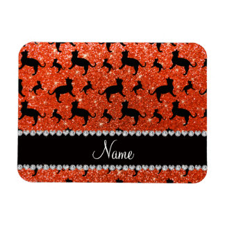 Personalized name neon orange glitter cats magnets