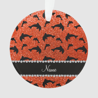 Personalized name neon orange glitter dolphins
