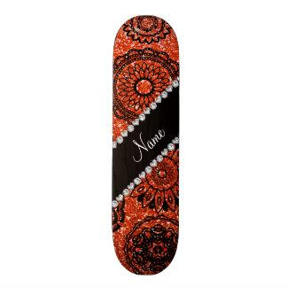 Personalized name neon orange glitter mandalas custom skate board