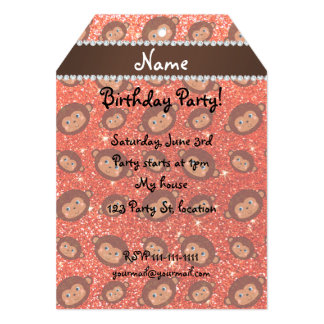 Personalized name neon orange glitter monkeys 5x7 paper invitation card