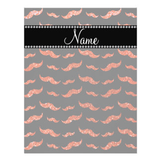 "Personalized name neon orange glitter mustaches 8.5"" x 11"" flyer"