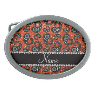 Personalized name neon orange glitter paisley belt buckles