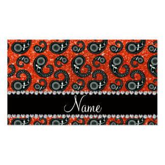 Personalized name neon orange glitter paisley business card