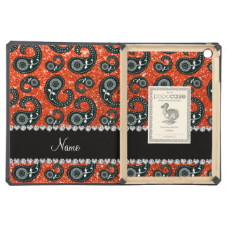 Personalized name neon orange glitter paisley cover for iPad air