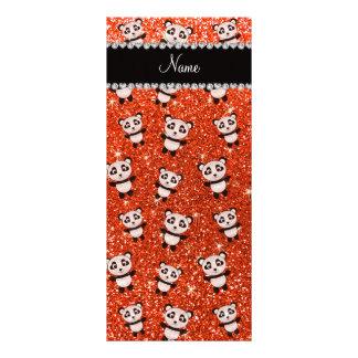 Personalized name neon orange glitter pandas custom rack card