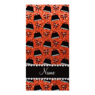Personalized name neon orange glitter purses bow photo card