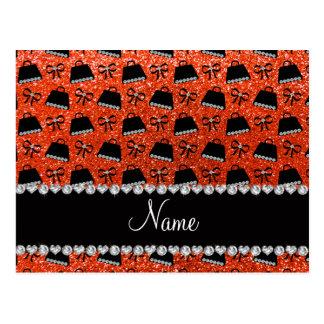 Personalized name neon orange glitter purses bow post card