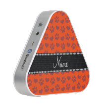 Personalized name neon orange hearts and paw print bluetooth speaker