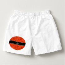 Personalized name neon orange hearts and paw print boxers