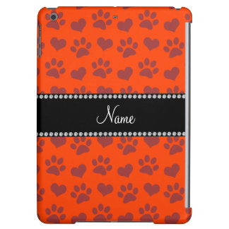 Personalized name neon orange hearts and paw print cover for iPad air