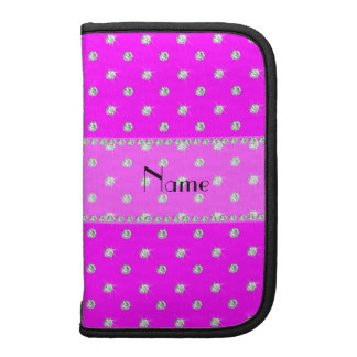 Personalized name neon pink diamonds clear stripe planners