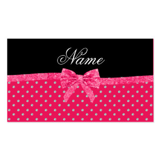 Personalized name neon pink diamonds pink bow business card