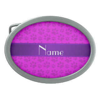 Personalized name neon pink dog paws oval belt buckles