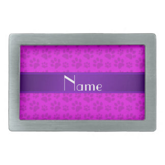 Personalized name neon pink dog paws rectangular belt buckles