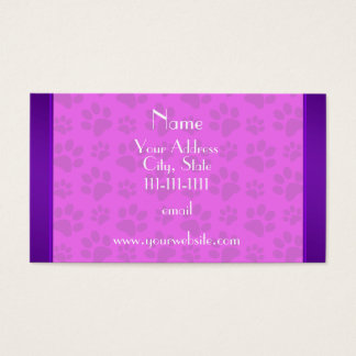 Personalized name neon pink dog paws business card