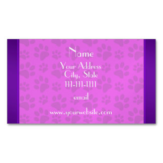 Personalized name neon pink dog paws magnetic business card