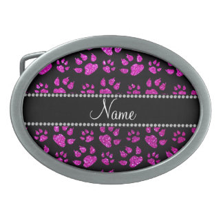 Personalized name neon pink glitter cat paws belt buckle