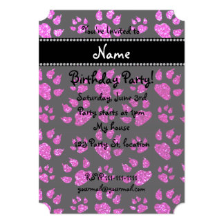 Personalized name neon pink glitter cat paws 5x7 paper invitation card