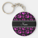 Personalized name neon pink glitter cat paws basic round button keychain