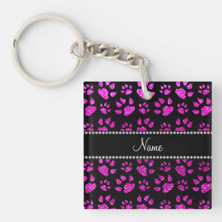 Personalized name neon pink glitter cat paws keychains