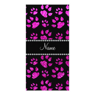 Personalized name neon pink glitter cat paws customized photo card