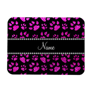 Personalized name neon pink glitter cat paws rectangle magnets