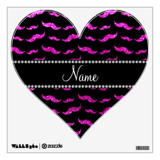 Personalized name neon pink glitter mustaches wall decal