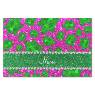 """Personalized name neon pink glitter sea turtles 10"""" x 15"""" tissue paper"""