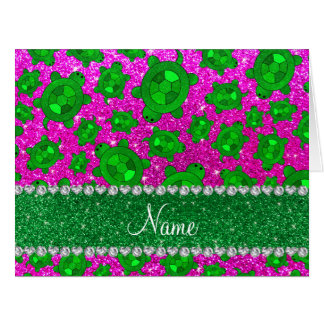 Personalized name neon pink glitter sea turtles card